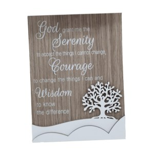 French Country Wooden Sign SERENITY COURAGE WISDOM Tree Plaque Hang or Stand