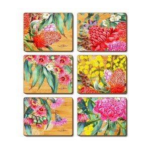 Kitchen NATIVE FLOWERS Cinnamon Cork Backed Placemats Set 6