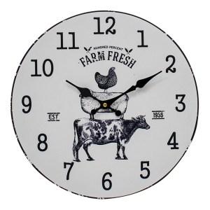 Clocks Wall Hanging Farm Animal Stack Black on White Clock 34cm