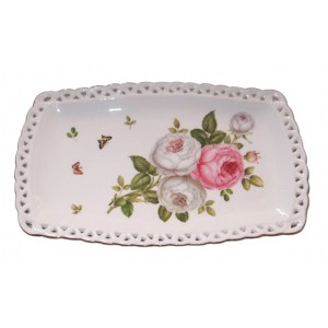 Elegant Kitchen Plate BUTTERFLY ROSE Serving Tray Platter 25x15cm