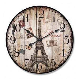 Clock Wall Hanging PARIS EIFFEL TOWER STAMPS Clocks 29cm