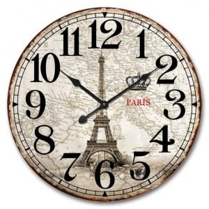 Clock Country Vintage Wall Large PARIS EIFFEL TOWER MAPS 60cm