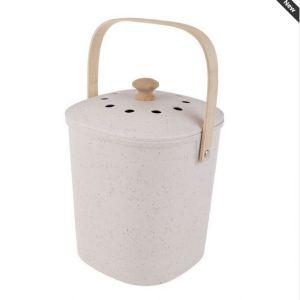 Retro Kitchen Scraps Compost Bucket WHITE Bamboo Fibre