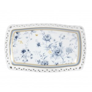 Elegant Kitchen Plate BLUE MEADOWS Serving Tray Platter 25x15cm