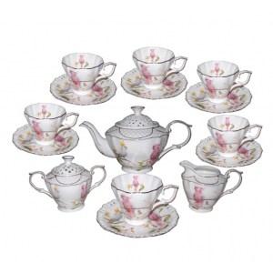 Elegant Kitchen 15 piece Tea Set COCKATOO Teapot, Cups