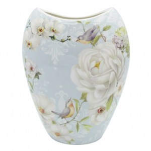 Elegant WHITE ROSE China Floral Flowers Vase