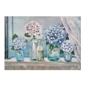French Country Canvas Print HYDRANGEAS IN BOTTLES 50x70cm