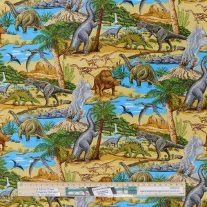 Quilting Patchwork Fabric LOST WORLD DINOSAUR 2 50x55cm FQ Material