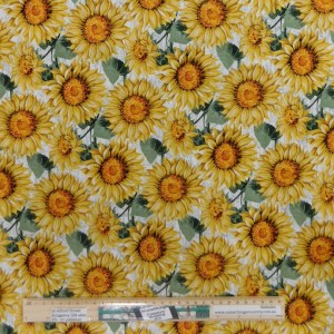 Quilting Patchwork Fabric SUNFLOWERS LIGHT 50x55cm FQ Material