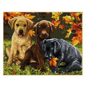 Cross Stitch Kit THREE DOGS X Stitch Joy Sunday Incl Threads
