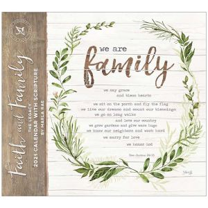 Legacy 2021 Calendar FAITH and FAMILY Calender Fits Lang Wall Frame