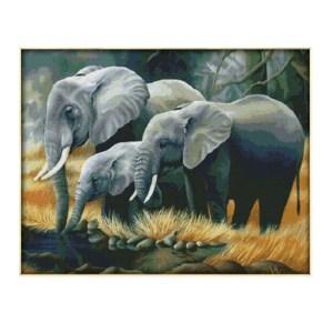 Cross Stitch Kit FAMILY OF ELEPHANTS X Stitch Joy Sunday Inc Threads