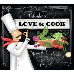 Lang 2021 Calendar LOVE TO COOK Calender Fits Wall Frame