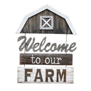 Country Wooden Hanging Sign WELCOME TO OUR FARM Plaque