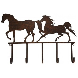 Country Wall Art Farmhouse Metal HORSES with Hat Keys Hooks