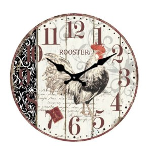 Clock French Country Wall Clocks 17cm ROOSTER COCKEREL Small