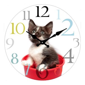 Clock French Country Wall Clocks 17cm KITTEN in Bucket Small