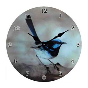 Clock French Country Wall Small Clocks 17cm BLUE WREN