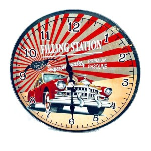 Clock French Country Wall Small Clocks 17cm CAR FILLING STATION