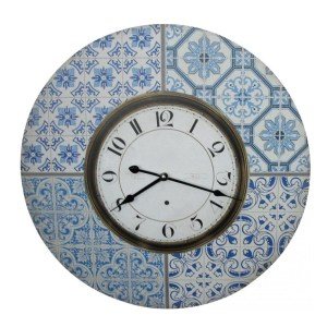 Clocks Wall Hanging Morrocco Blue 58cm Clock Large Numbers