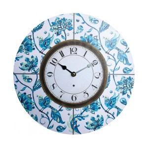 Clocks Wall Hanging Vintage Looking Bluebirds Time Clock 34cm