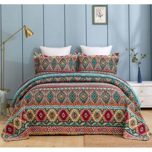 French Country Patchwork Bed Quilt AZURA THROW Coverlet