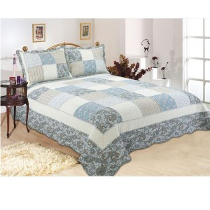 French Country Patchwork Bed Quilt RHAPSODY FLORAL THROW Coverlet