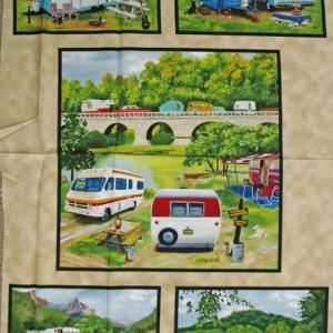 Patchwork Quilting Sewing Fabric CARAVAN VINTAGE TRAILER Panel 60 X 110cm New