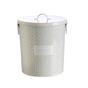 Enamel Retro Laundry Lint Bin for the Dryer SPRING GREY New Freepost Rubbish Bin