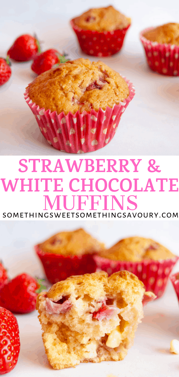 a pinterest long pin with two pictures of white chocolate and strawberry muffins