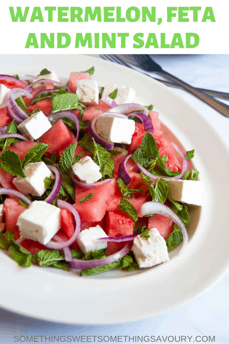 Watermelon, feta and mint salad - juicy chunks of watermelon, salty feta cheese, cooling mint and crunchy red onion make an addictive combo you can't stop eating!