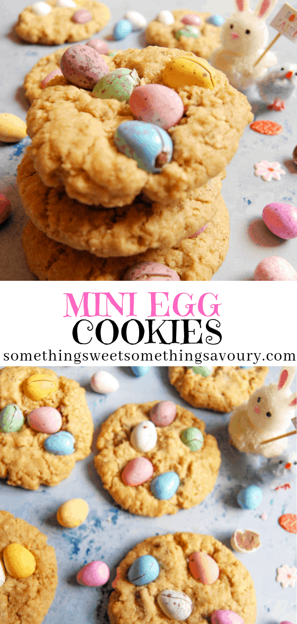 Your favourite Easter candy in a cookie! These mini egg cookies are thick, chewy and full of milk chocolate chunks and Cadbury mini eggs! #minieggcookies