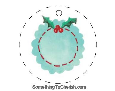 emboidered name tag christmas ornament sample