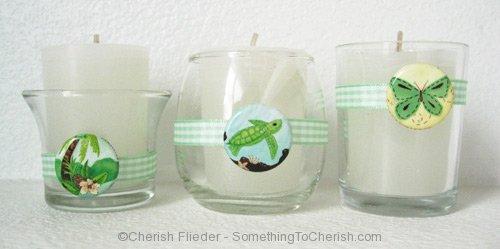 Mini Button Votive Candles with Artwork by Cherish Flieder