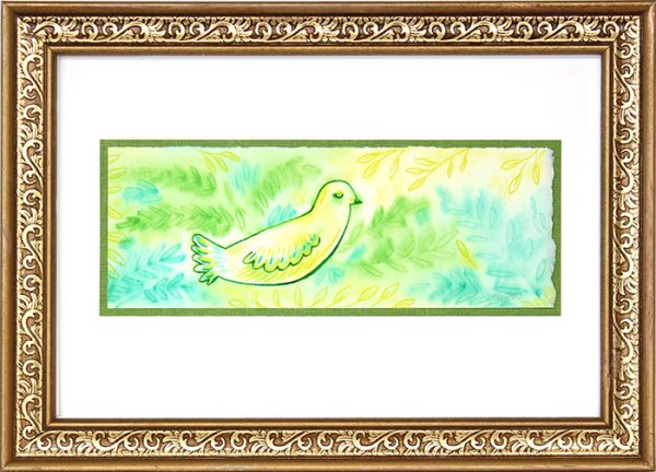 Just Peaceful Bird Watercolor Painting Gold Frame by Cherish Flieder , Something to Cherish