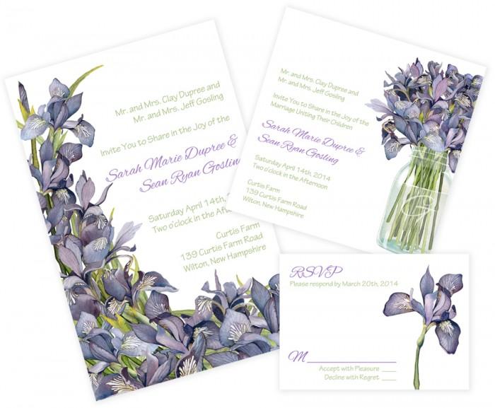 Iris Mason Jar Wedding Invitations