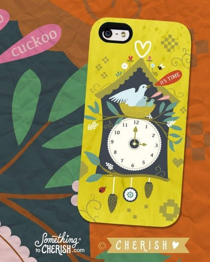 Cuckoo Clock Illustration by Cherish Flieder - Phone Mock Up Surface Design