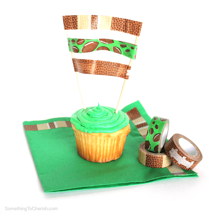 Football washi tape transforms party plates, napkins, and cups for game day!