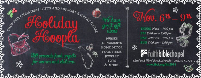Colorado Community Print Ad: Holiday Hoopla Chalk Art Campaign Illustrated and Designed by Cherish Flieder