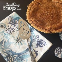 something blue kitchen towel with peach pie