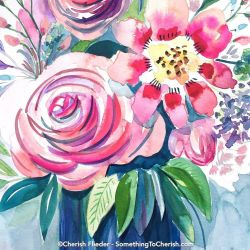 Mothers Day Floral watercolor by Cherish Flieder