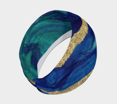 Blue and warm gold accents in Cherish's Marble cove headwrap scarf design is a wonderful example.