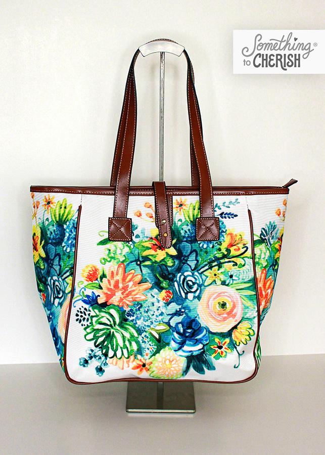 """Cultivate Joy"" Canvas Market Shoulder Bag by Cherish Flieder of Something to Cherish"