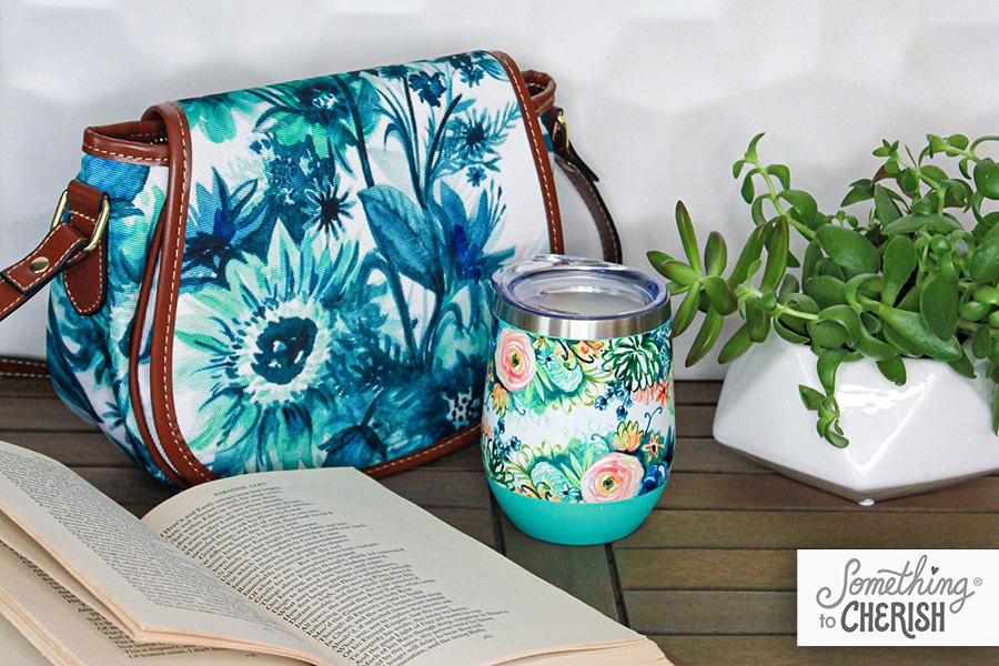 """Indigo Floral"" Canvas Saddle Bag by Cherish Flieder of Something to Cherish"