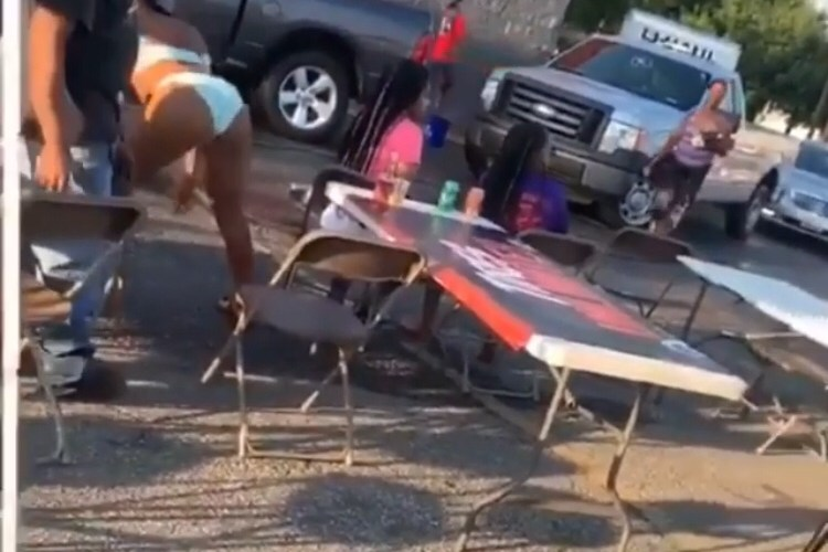Twerking in parking lot