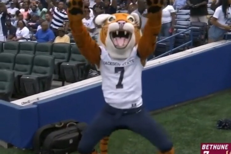 Jackson State mascot jumps in play