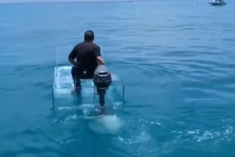 Man drives invisible boat
