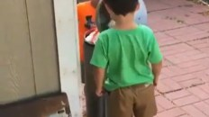 Kids hit their heads with a garbage can