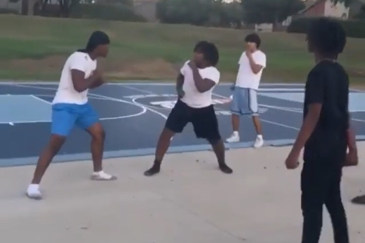 fight on basketball court