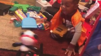 kid scared of toy